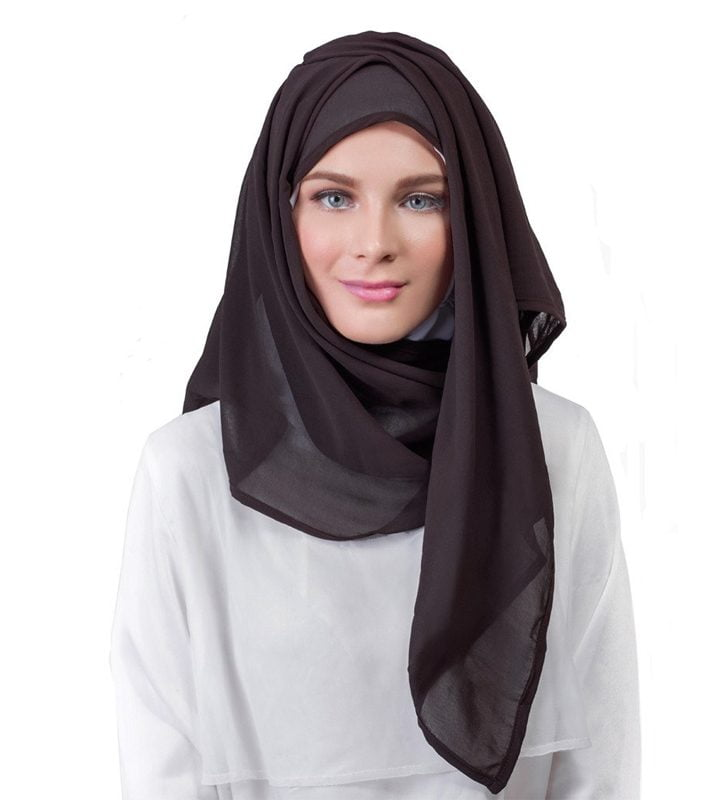 HS90-1195-Dark Chocolate Chiffon Bordered Hijab